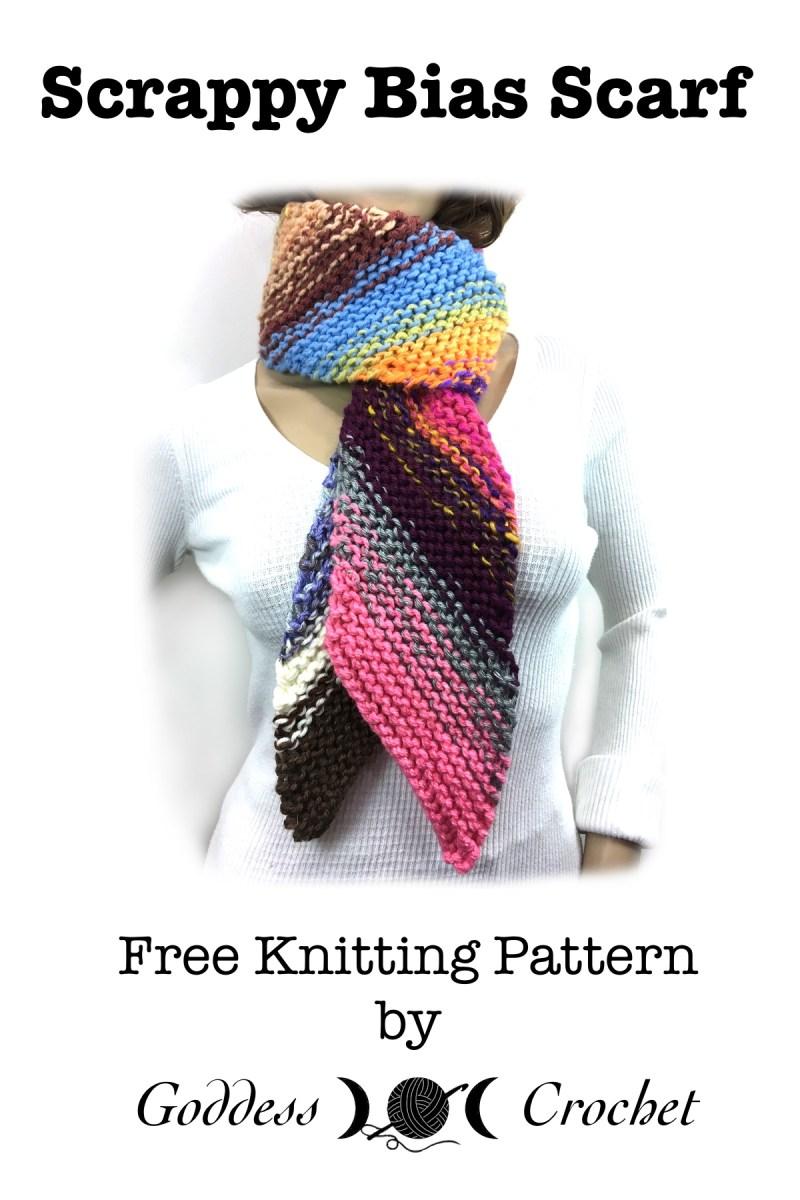 Scrappy Bias Scarf – Free Knitting Pattern – Goddess Crochet