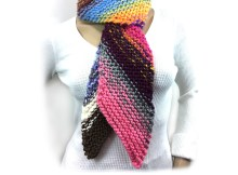Scrappy Bias Scarf - Free Knitting Pattern