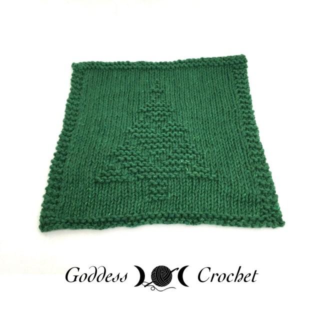 Christmas Tree Knit Dishcloth