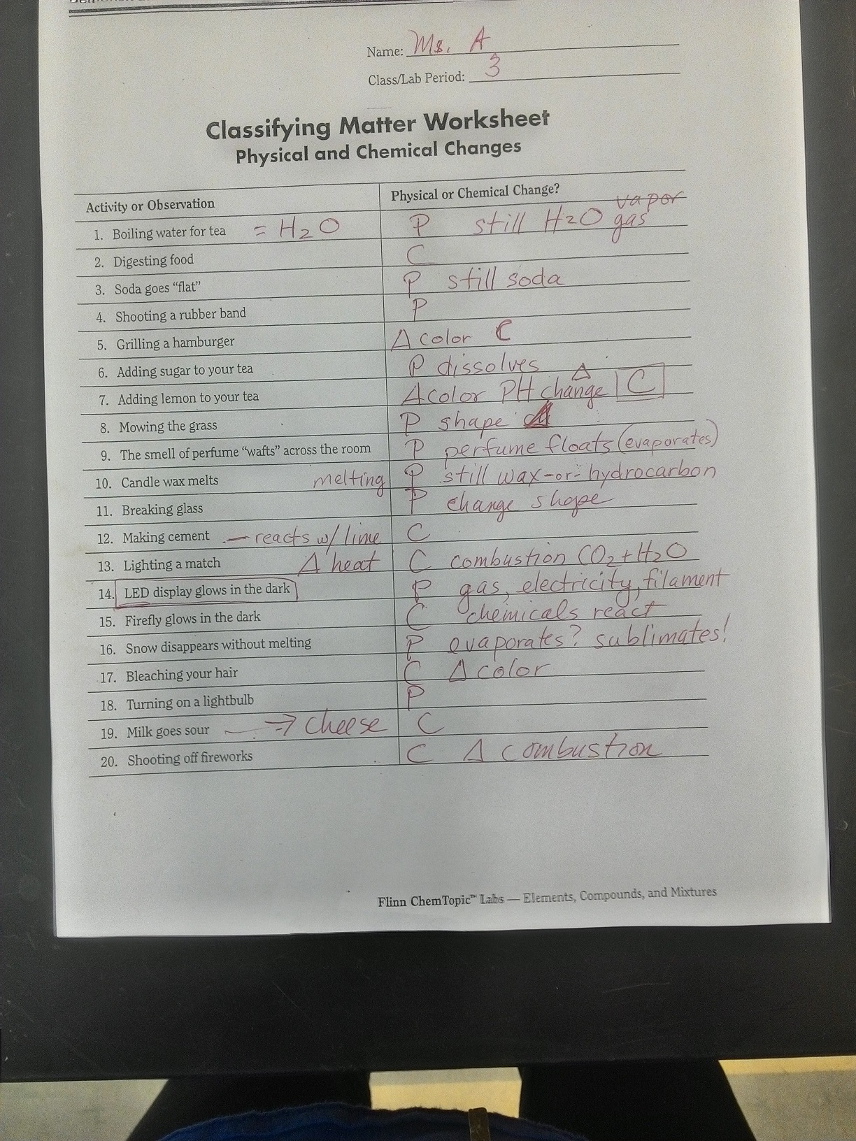 Classifying Matter Worksheet