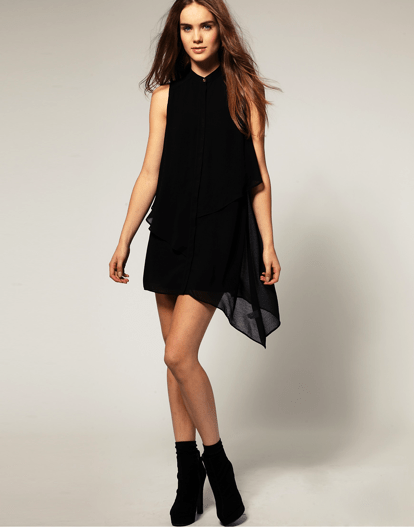 The perfect asymmetric top: - River Island Chiffon Shirt Dress, reduced to £24.50 (approx 35Euro) at www.asos.com