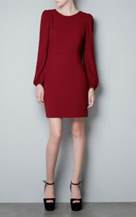 PUFF SLEEVE DRESS €49.95 at Zara.  Zara's version of a classic long sleeved shift comes in cranberry crepe and at €49.95 it suits most pockets.
