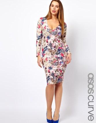 ASOS CURVE Midi Bodycon Dress in Jewel Flower Print €41.67