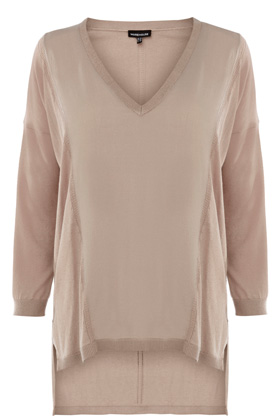 WOVEN FRONT POINTELLE LINE JUMPER WITH SILKY BACK Price: £38.00 at Warehouse