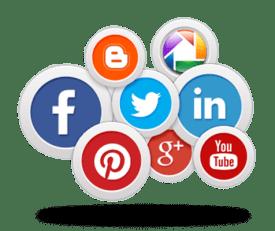 Sociale medier - facebook, pinterest, picasa, google+, youtube, twitter, linkedin, blogspot ikoner
