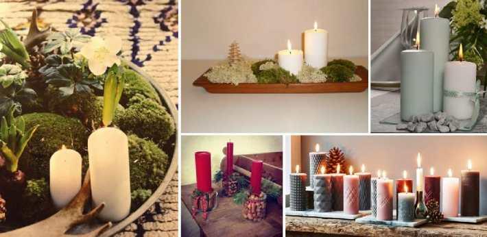 Juledekorationer med bloklys julebelysning