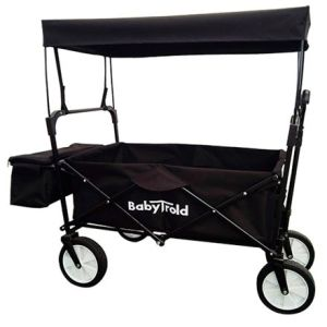 babytrold-traekvogn-sort-med-aftageligt-tag-bagagekurv-og-justerbart-styr-1
