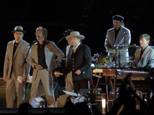 Bob Dylan on stage at the 2012 Hop Farm festival