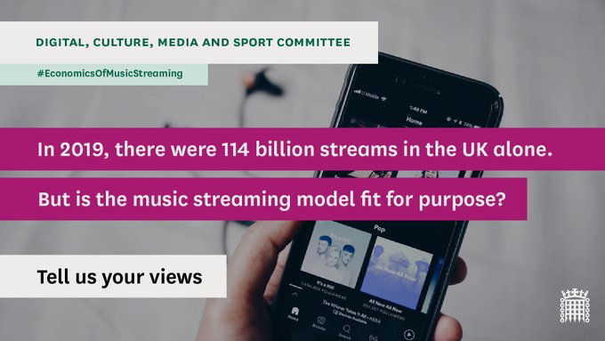 NEWS: Inquiry into the impacts of music streaming announced by Department for Culture, Media and Sport