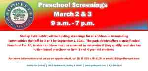 Preschool Screenings to be conducted March 2 & 3 between 9 a.m. and 7 p.m., contact us to schedule screening. 815-458-6129.