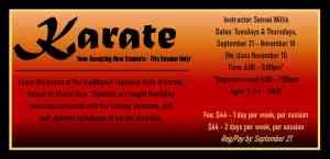 Karate begins Sept 21