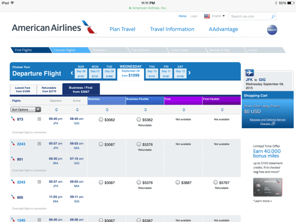 over $3,000 for this flight.