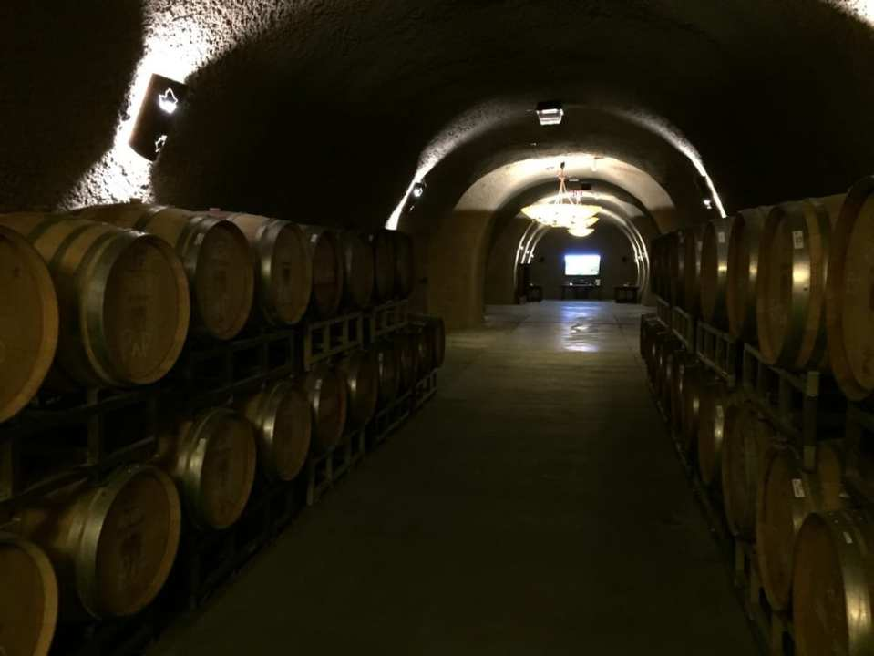 Cave with tasting rooms and space for barrels to age.