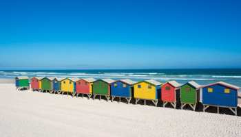 35857495 - colorful bathhouses at muizenberg, cape town, south africa, standing in a row.
