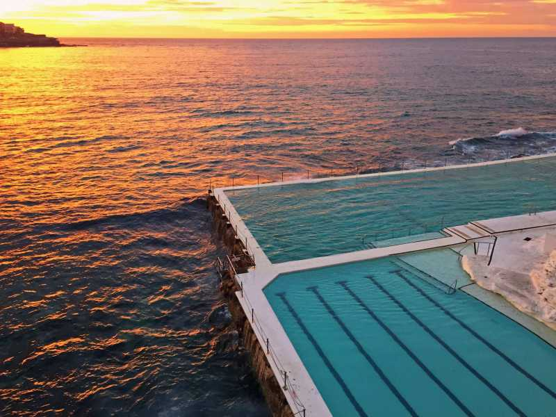 Bondi Icebergs pool at sunrise time.
