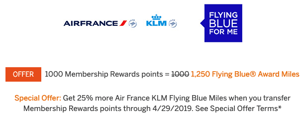 Amex Transfer Bonus To Flying Blue
