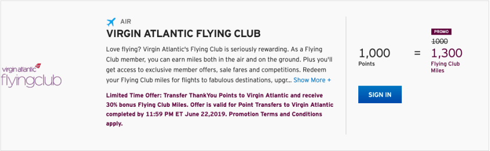 Citi ThankYou Points Virgin Atlantic Transfer Bonus