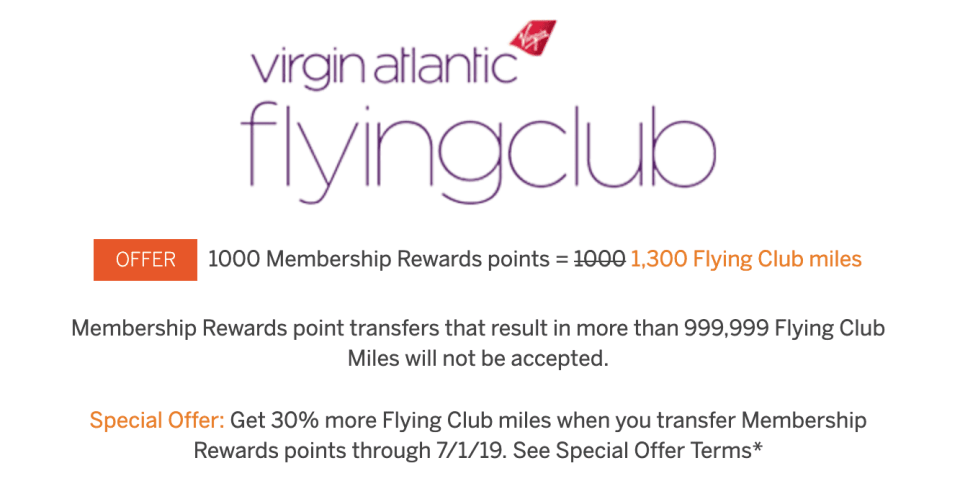 Virgin Atlantic Amex Transfer Bonus May 2019