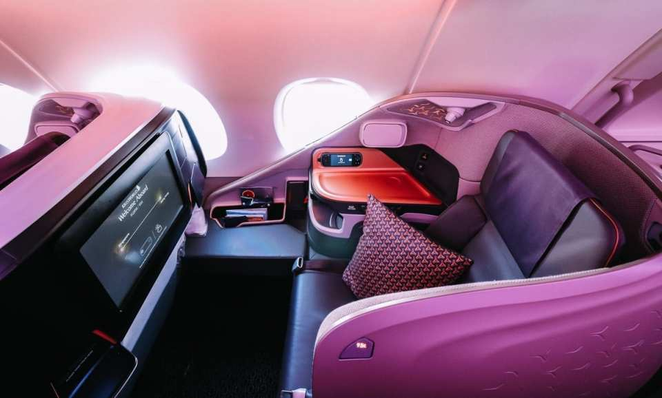 singapore a380 business class seat