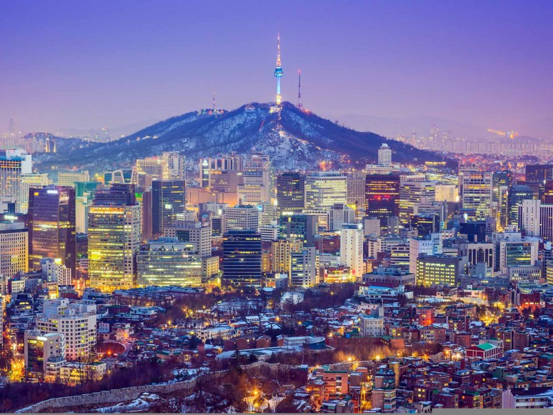 Seou, South Korea city skyline at twilight.