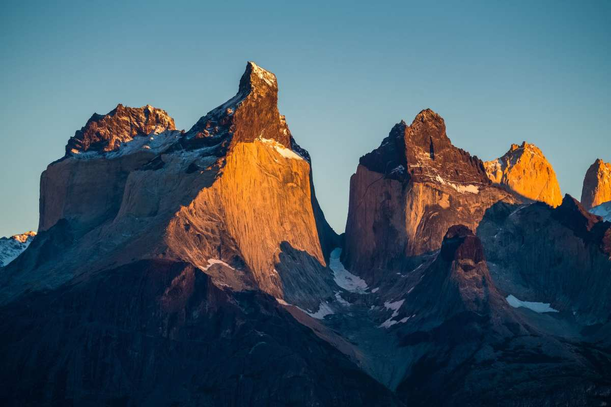 Cuernos Towers during sunrise. Torres del Paine National Park, Chile