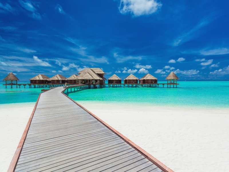 98125629 - overwater villas on the tropical lagoon, maldives islands