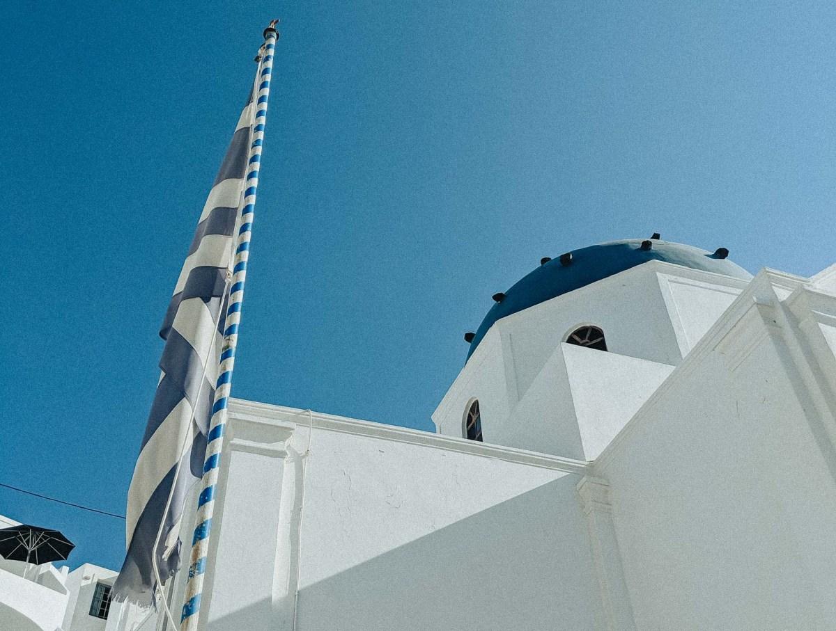 Santorini Greece Blue Top