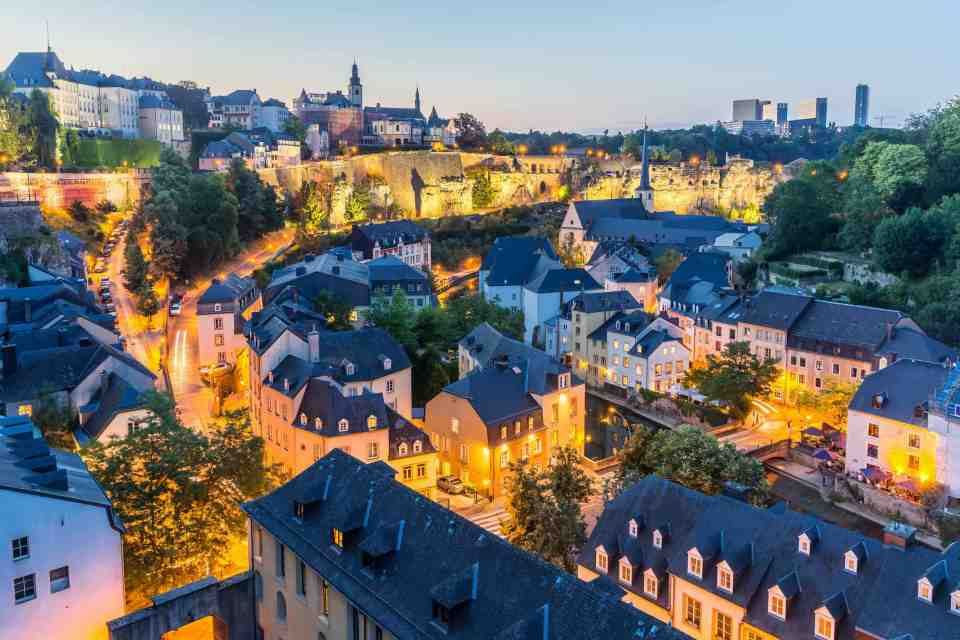 Luxembourg City sunset top view in Luxembourg