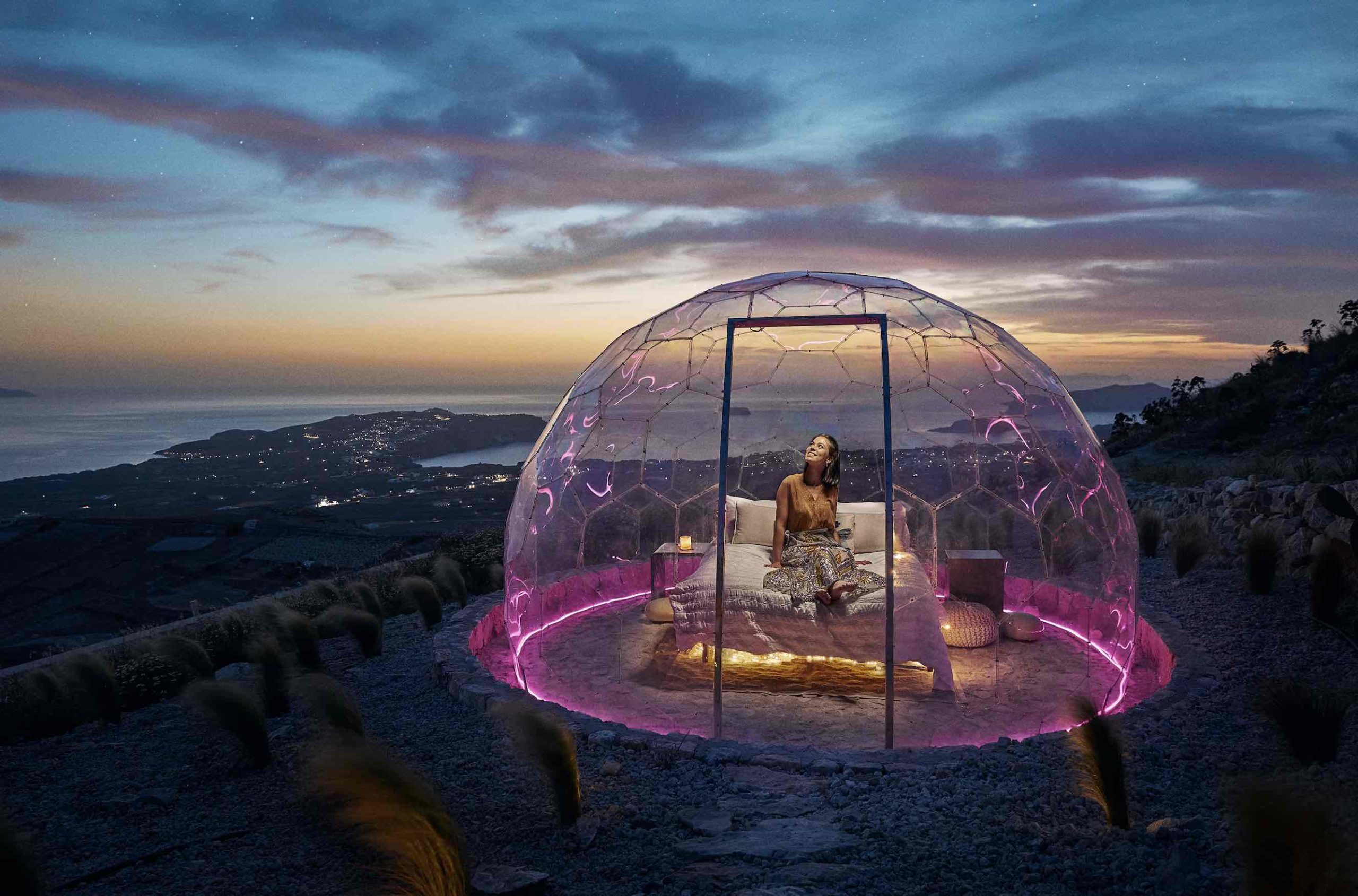 You Can Now Spend The Night In A Glass Dome On Top Of Santorini