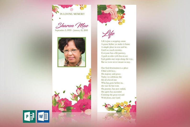 Pink Watercolor Funeral Bookmark Word Publisher Template