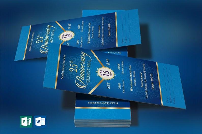 Blue Gold Anniversary Banquet Ticket Template