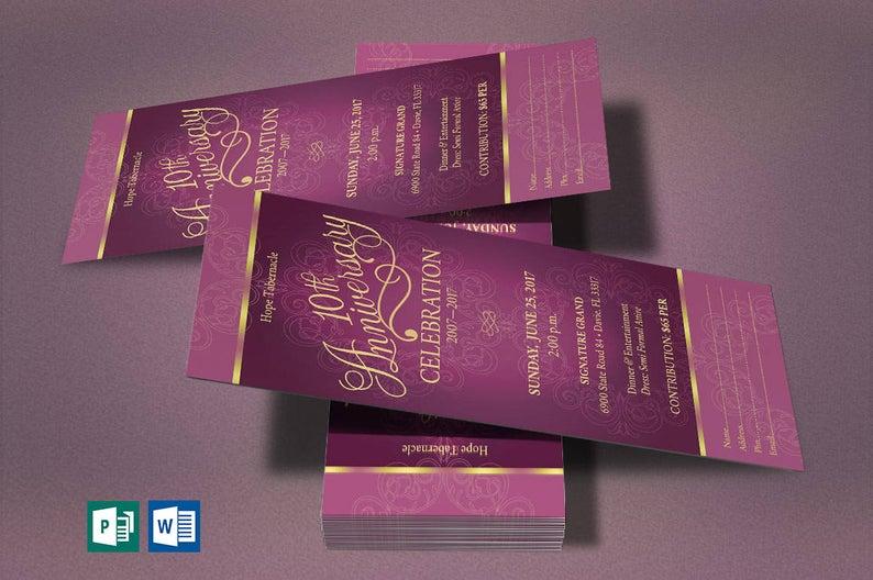 Fuchsia Church Anniversary Word Publisher Ticket