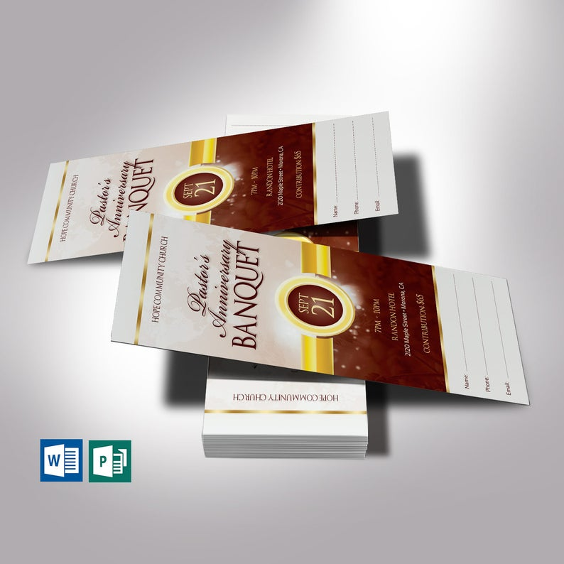 Brown Gold Clergy Banquet Ticket Template