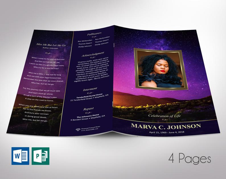 Vineyard Funeral Program Word Publisher Template