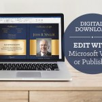 Blue Gold Funeral Program Word Publisher Template