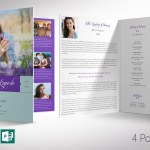 Remember Purple Teal Funeral Program Word Publisher Large Template