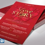 Valentines Love Story Flyer Word Publisher Template