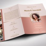 Rose Gold Funeral Program Word Publisher Large Template