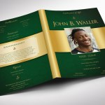 Green Gold Regal Tabloid Funeral Program Word Publisher Template,