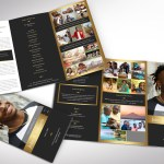 Remember Gold Tabloid Trifold Funeral Word Publisher Program Template