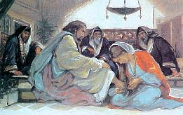 Image result for jesus reclining at table
