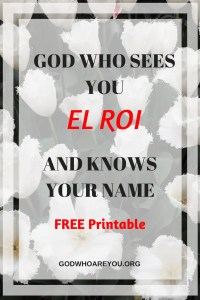 El Roi - God who sees our affliction, circumstances and hears our misery. He also sees the future plans and purposes for our life.