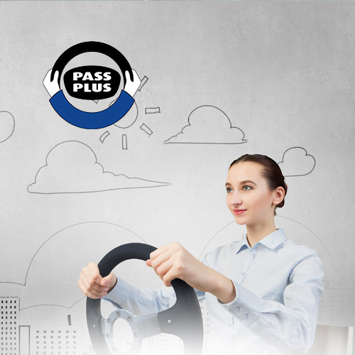 Lady holding steering wheel with pass plus badge in the back