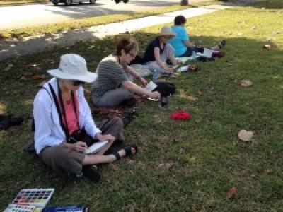 Artists Painting at Plaza Revolution