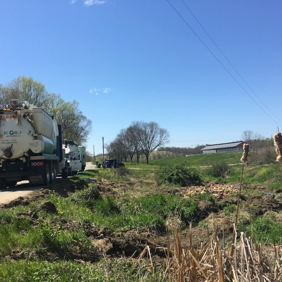 Emergency call to the scene of an accident where a truck loaded with fruit overturned. Used vacuum excavating to clean up the spill. We never know what interesting jobs we might be called to!