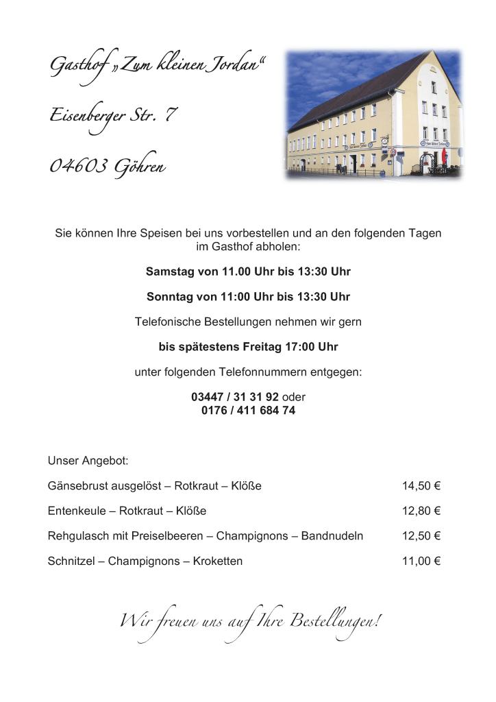 """Bestellung zur aktuellen Speisekarte der Gaststätte """"Kleiner Jordan"""" im Dezember 2020"""