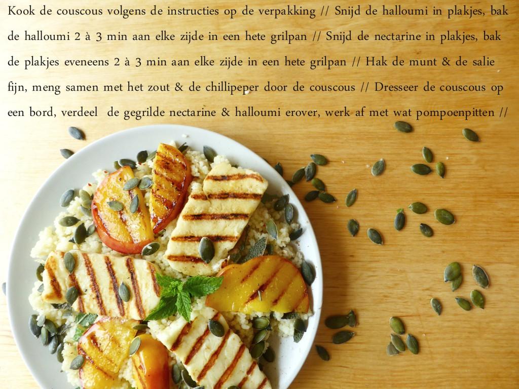 recept voor slaatje met couscous halloumi en gegrilde nectarine lauwwarm munt salie