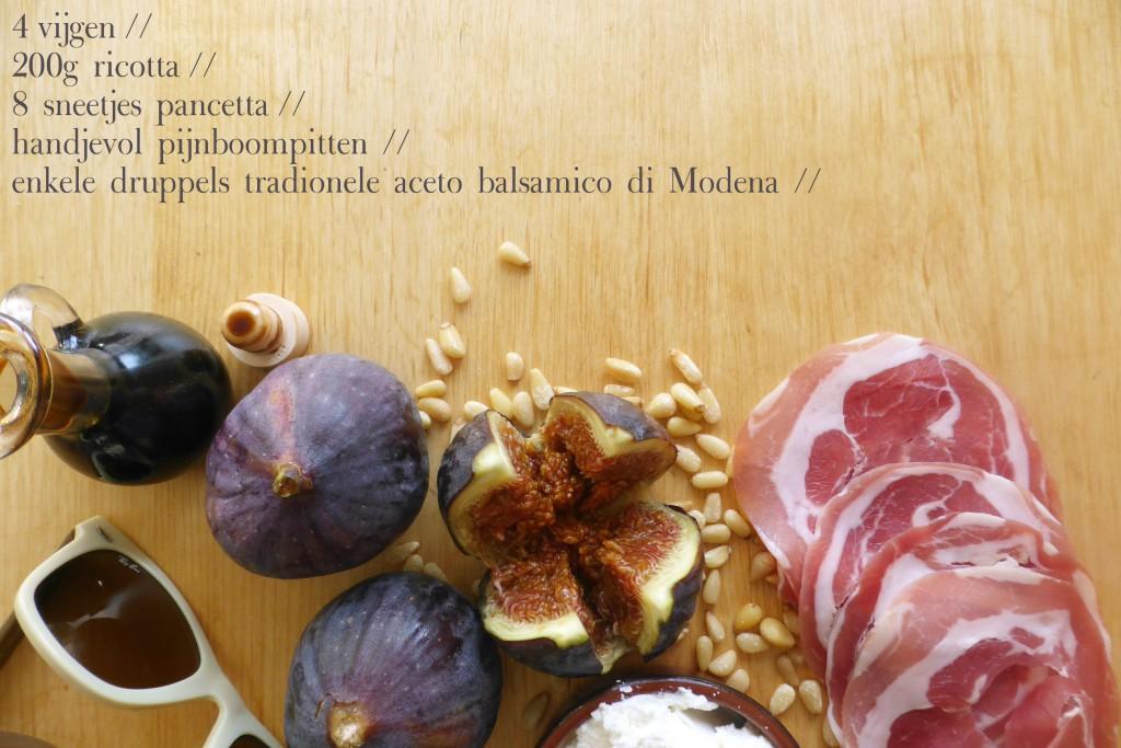 ingredienten brunch lunch apetizer vijg met ricotta en balsamico pancetta