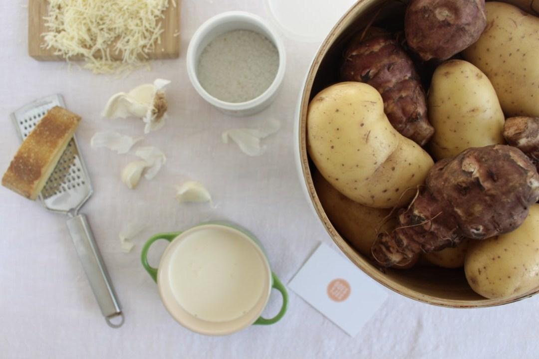 ingredienten voor gratin van aardpeer en aardappel goestjes