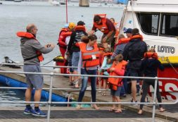 NSRI SUPPORTERS: A group of eager supporters attendees prepare for a boat ride